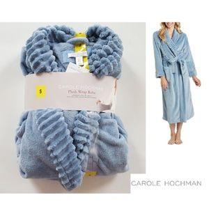 CAROLE HOCHMAN Women's Blue Plush Wrap Robe